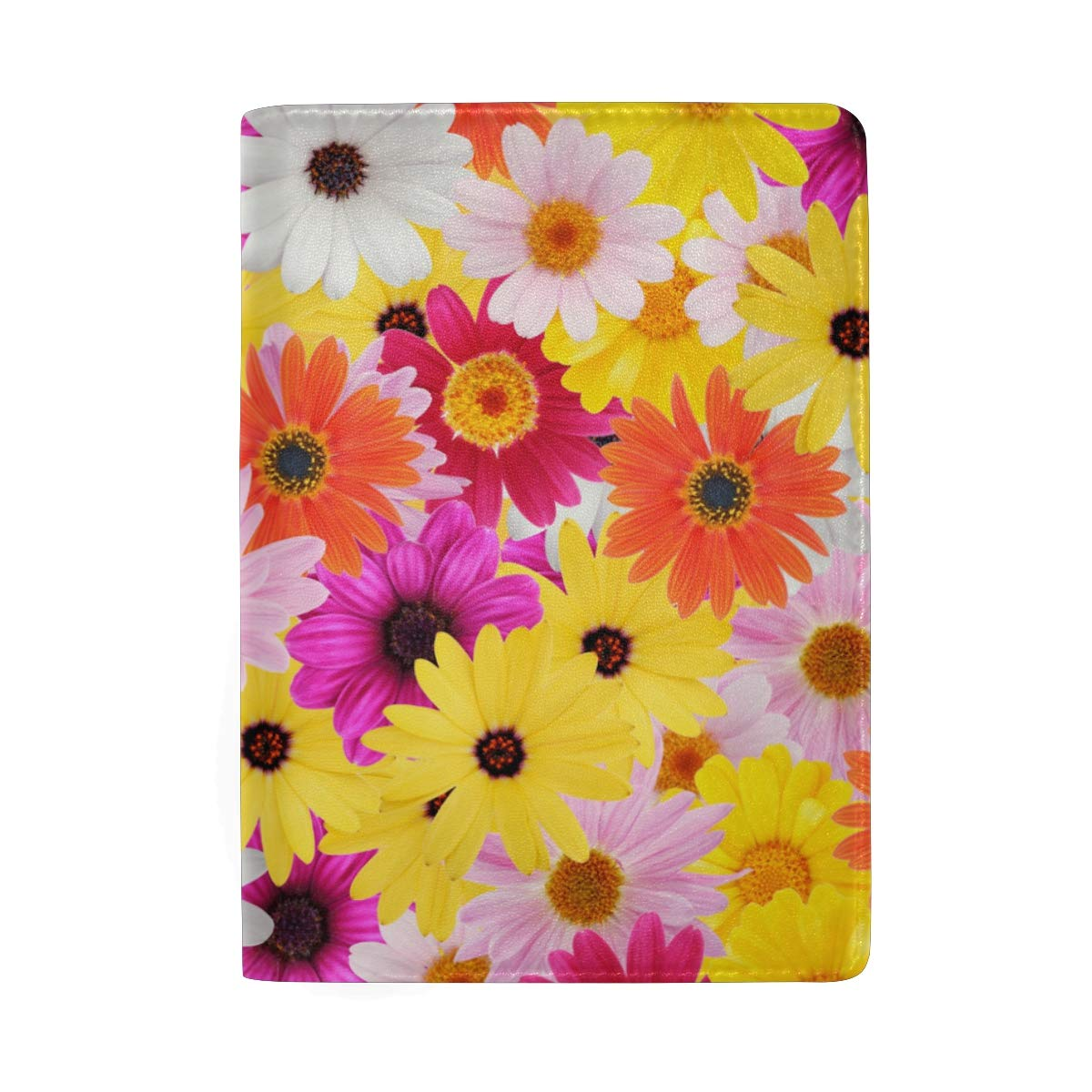 Floral Colorful Flower Daisy Leather Passport Holder Cover Case Protector for Men Women Travel with Slots
