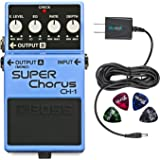 Boss CH-1 Classic Stereo Super Chorus Pedal - INCLUDES - Blucoil Power Supply Slim AC/DC Adapter for 9 Volt DC 670mA AND 4 Pack of Guitar Picks