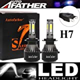 LED Headlight Bulbs H7 High Beam/Low Beam - 4 Sides 240W High Power 24000LM