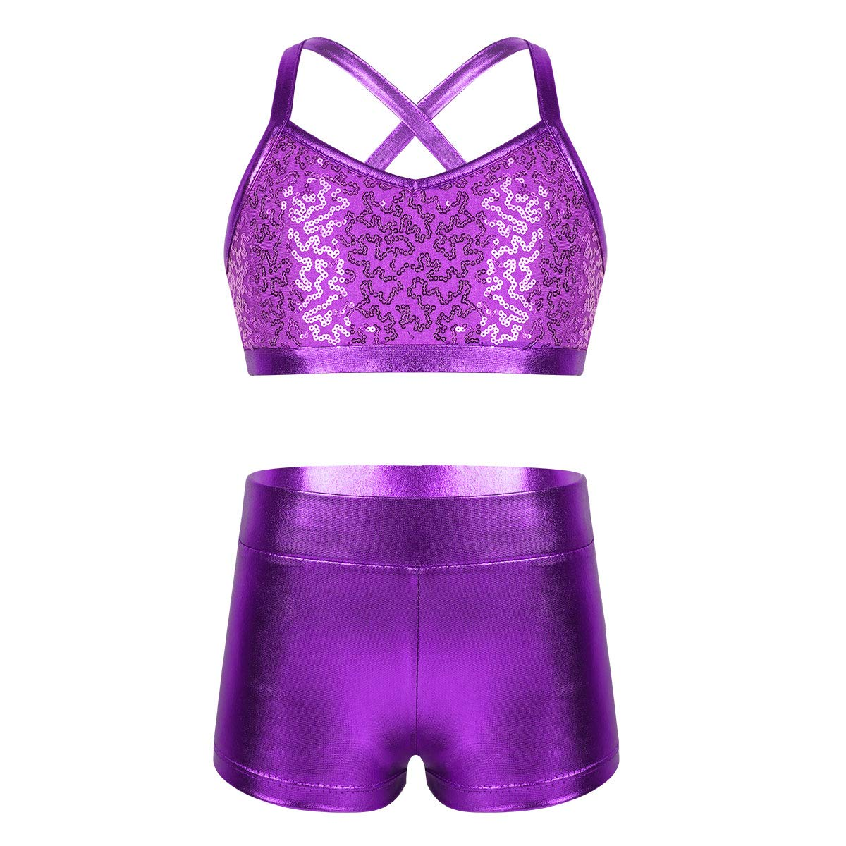 iEFiEL Kids Girls Gymnastics Sports Dance Two-Pieces Outfit Floral Lace Sleeveless Crop Top with Shorts Set