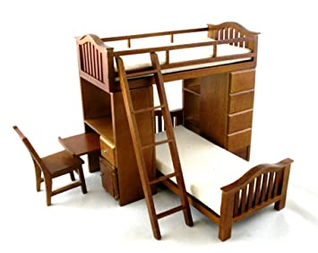 Etagenbett Für Puppenhaus : Puppenhaus miniatur schlafzimmermöbel walnussholz etagenbett set
