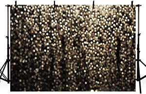 MEHOFOTO Gold and Black Bokeh Spots Prom Homecoming Backdrop for Birthday Party Pictures Photo Booth Shoot Dance Wedding Vintage Abstract Glitter Dot Studio Props Photography Background Banner 7x5ft
