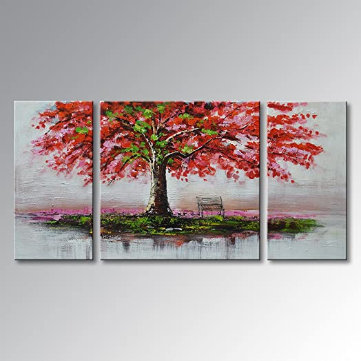EVERFUN ART Large Framed Hand Painted Oil Painting Palette Knife Red Tree Canvas Wall Art Outside Landscape Decoration Hanging Ready to Hang 40 W x 20 H