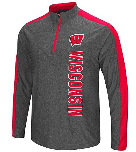 665aee83a7c7 Colosseum NCAA Wisconsin Badgers Mens Splitter Quarter Zip Pullover Wind  Shirt-Charcoal-Small