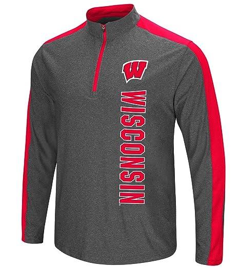 33e62bd26d23 Colosseum NCAA Wisconsin Badgers Mens Splitter Quarter Zip Pullover Wind  Shirt-Charcoal-Small
