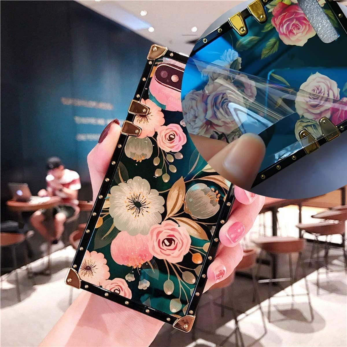 KAPADSON for iPhone 7 Plus 8 Plus Newest Retro Blue Ray Rose Flower Glitter Skin Design TPU+ PU Leather Plating Square Corner Strong Back Case with Holder - Flowers