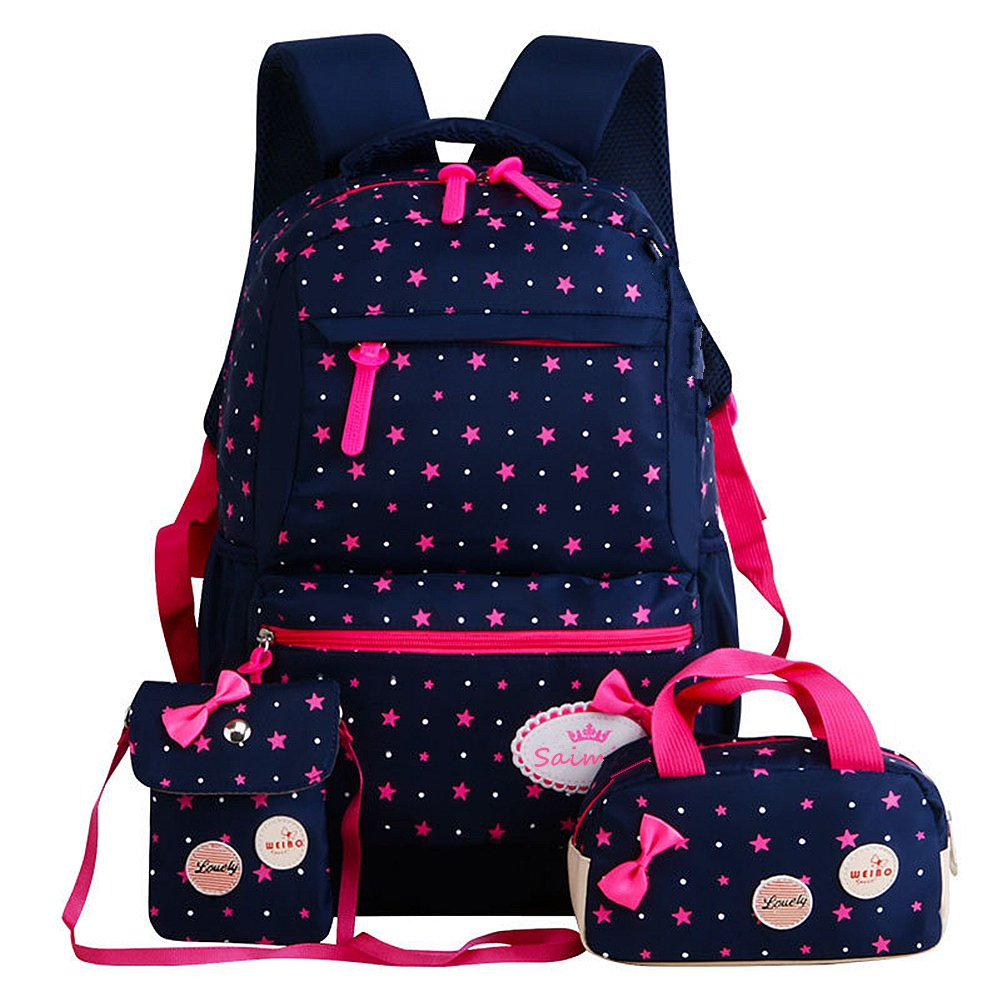 FOLLOWUS Kid's Backpacks Girls School Backpack Purse Lunch Bag 3 in 1 (Navy Blue&Rose)