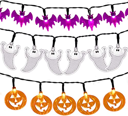 Set of 3 Halloween String Lights, Battery Operated 30 LED 12Ft Each Halloween Lights of Jack-O-Lantern Pumpkin Lights, Purple Bats and White Ghosts for Outdoor Indoor Halloween Party Decorations