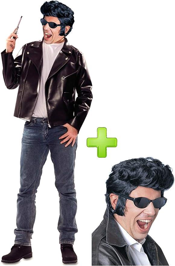 Disfraz de chaqueta motero con peluca: Amazon.es: Ropa y accesorios
