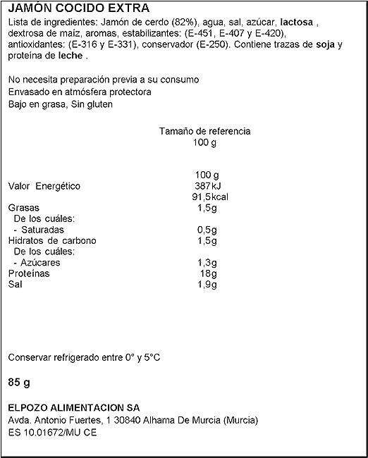 ElPozo Jamón Cocido Extrafino, Más Jugoso, 100 Gramos