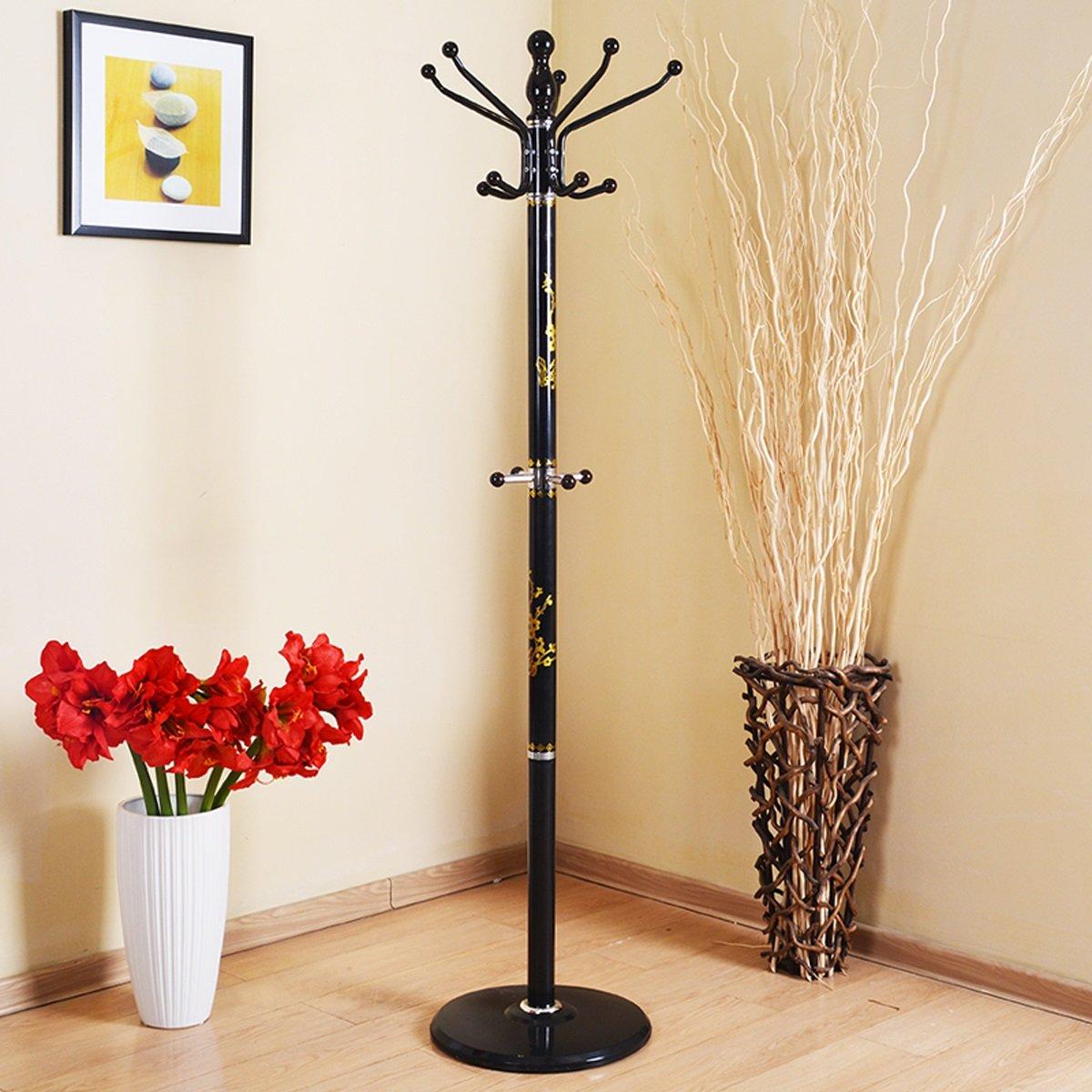 LF Coat rack Perchero para el hogar Percha para el hogar Percha metálica extraíble Perchero Colgante Simple (180 * 40cm) Blanco (Color : Negro)