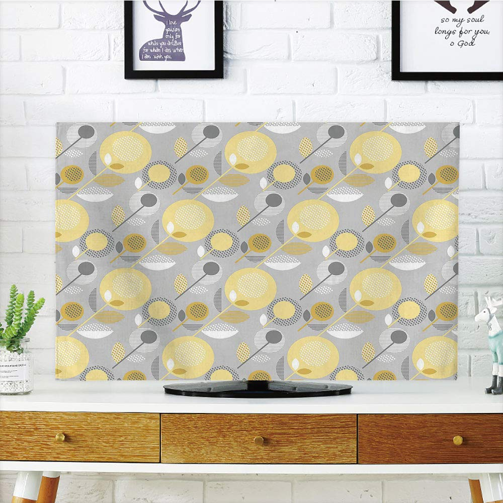 iPrint LCD TV dust Cover Strong Durability,Yellow Flower,Abstract Geometric 60s Pattern in Modern Design and Pastel Colors Decorative,Pale Yellow Pale Grey,Picture Print Design Compatible 55'' TV