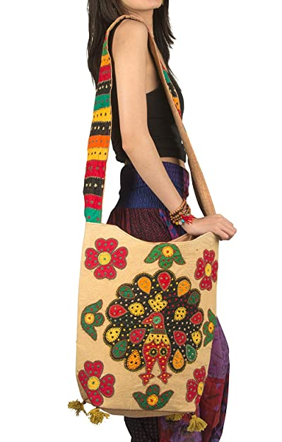 Peacock Handmade Large Shoulder Bag Hobo Crossbody Colorful Boho Everyday  Travel Laptop School Market Hippie ( 1ddd3cb889b20