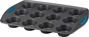 Rachael Ray 47957 Yum -o!Nonstick Bakeware 12-Cup Muffin Tin With Grips / Nonstick 12-Cup Cupcake Tin With Grips - 12 Cup, Gray