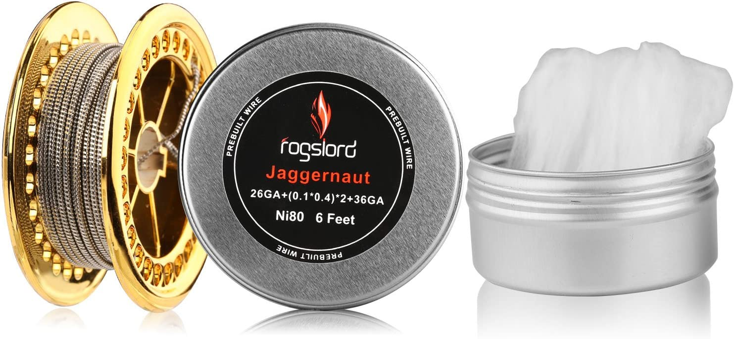 Jaggernaut Prebuilt Resistance Wire with Cotton 6ft - 26GA+(0.1x0.4) x2+36GA,Nichrome 80 for Household Wiring Use