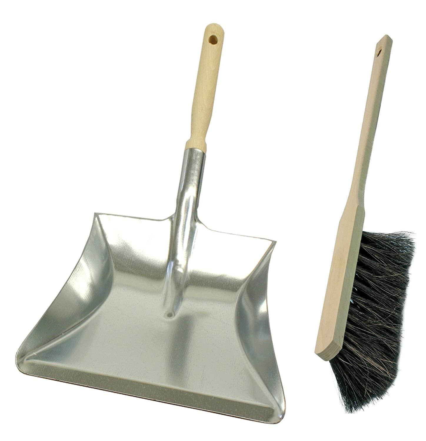 Brushmann Large Dustpan / Hand Shovel and Long Handled Hand Brush Set (Soft Bristle Long Handle, Large Pan)