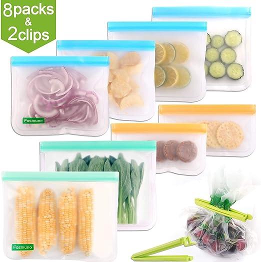 8 Pack Reusable Food Storage Freezer Bags for Kids Sandwich Snack Leak-proof