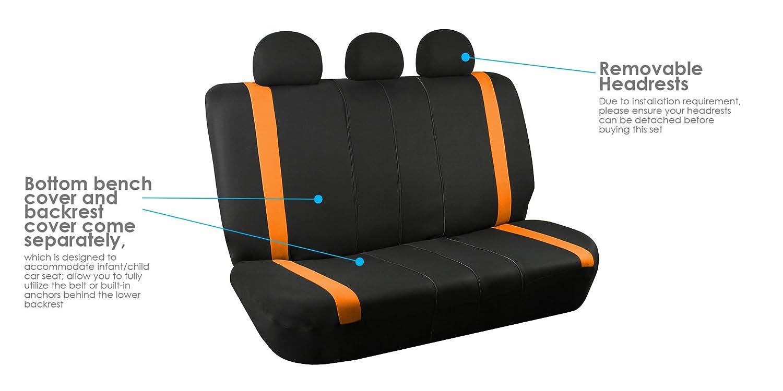 SUV or Van FH Group FH-FB032115 Unique Flat Cloth Seat Covers Blue//Black Color- Fit Most Car Truck