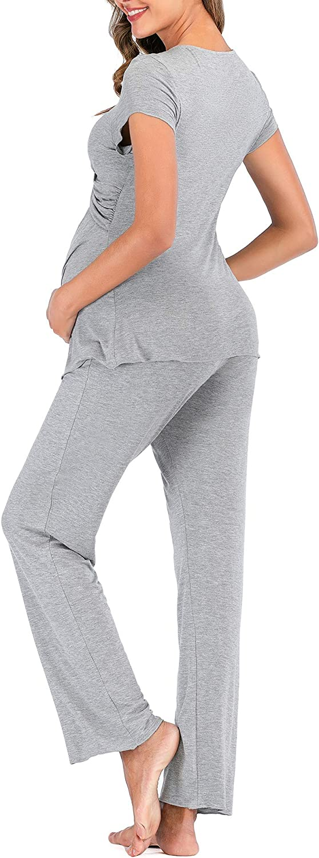 Women Maternity /& Nursing Pajama Set for Breastfeeding Short Sleeve Hospital PJS Pregnancy Sleepwear