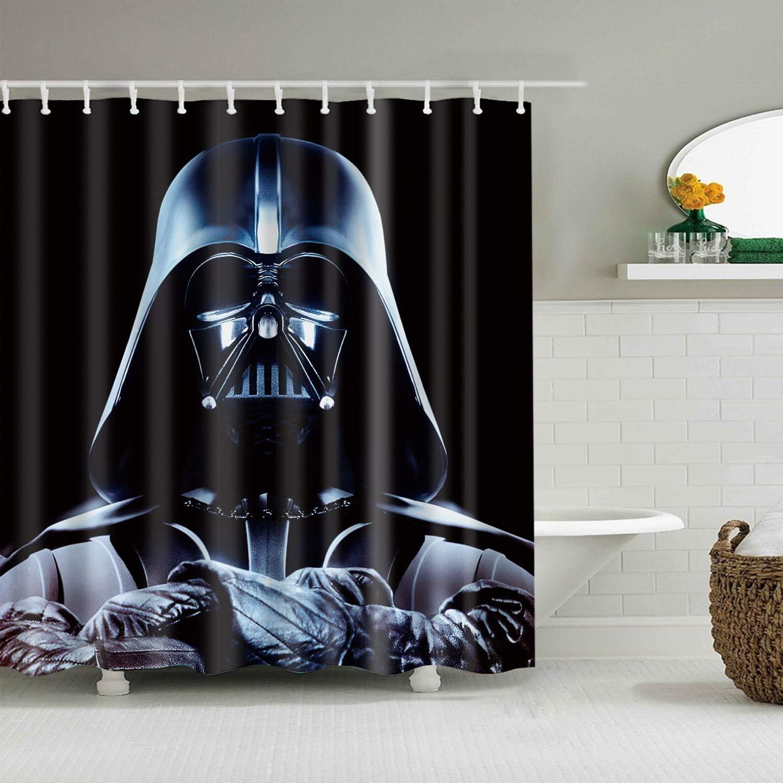 gwregdfbcv Star Wars Personaggi su Sfondo Nero Bagno Doccia Tenda Tessuto Resistente Muffa Accessori Bagno Creativo con 12 Ganci 180X180CM