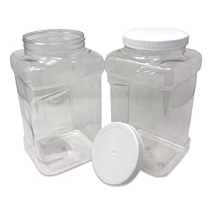 CSBD 1 Gallon Clear Plastic Jars With Ribbed Liner Screw On Lids, BPA Free, PET Plastic, Made In USA, Bulk Storage Containers 2 Pack (1 Gallon (Square))