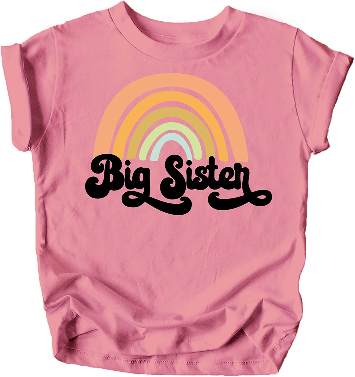 Retro Rainbow Big Sister Sibling Reveal Announcement Shirt for Baby and Toddler Girls Sibling Outfits
