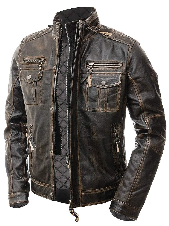 Abbraci Men's Motorcycle Biker Slim Fit Vintage Distressed Brown Cafe Racer Real Leather Jacket