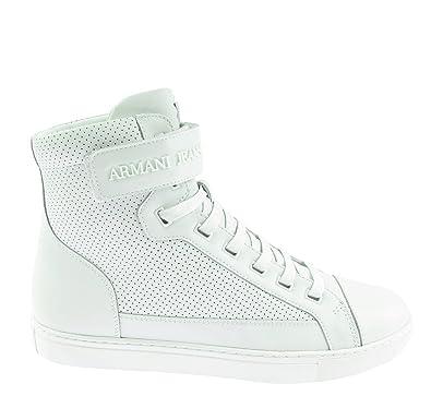quality design 64503 9c8d8 Armani Jeans 935042 Herren Men Hi-Top Sneakers Schuhe Shoes Weiß White Leder  (UK