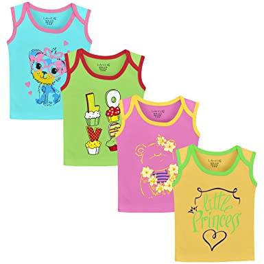 e54f20f0f Luke and Lilly Baby Girls Cotton Sleeveless Tshirt - Pack of 4 ...