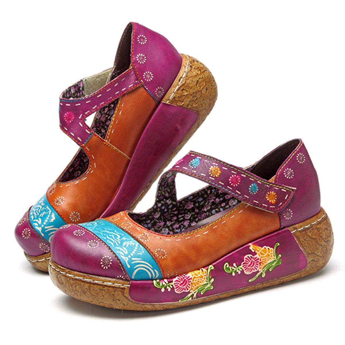 Socofy Sandalias de Mujer, Zapatos Merceditas para Mujer de Cuña de Flores Coloridas Zapatos de Cuero de la Vendimia Plataforma Slip-On Sandal Danza de Ballet Mocasines Casuales Oxford Zapatos 40 EU|Púrpura # 1