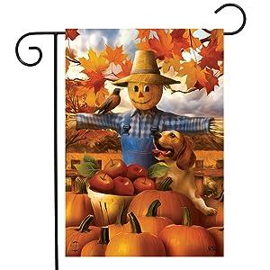 """Briarwood Lane Autumn Scarecrow Harvest Garden Flag Puppy Pumpkins Apple Basket 12.5"""" x 18"""""""