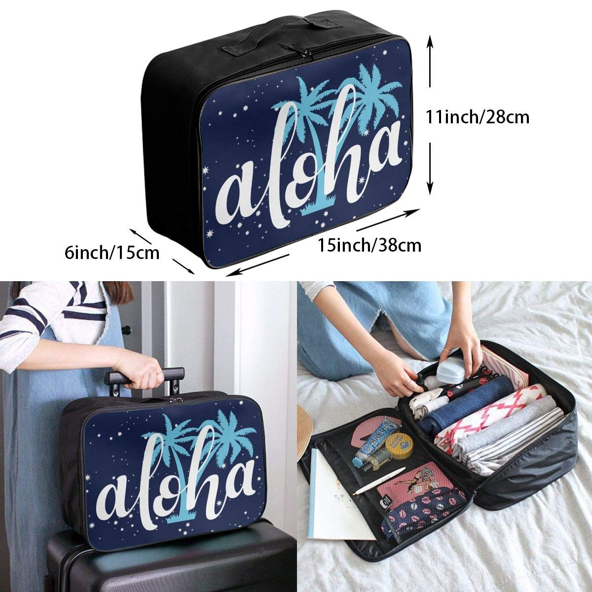 Aloha With Blue Palm Trees Luggage Bag Capacity Portable Large Travel Duffel Bag Travel Organizer