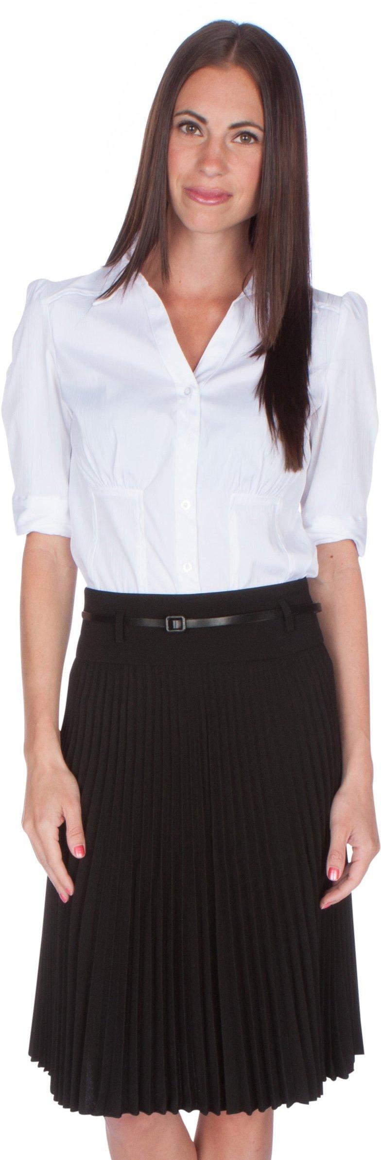 Sakkas FV3543 Knee Length Pleated A-Line Skirt with Skinny Belt - Black/X-Large by Sakkas (Image #3)