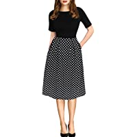 oxiuly Women's Vintage Casual Scoop Neck Patchwork Pockets Party Swing Dress OX165