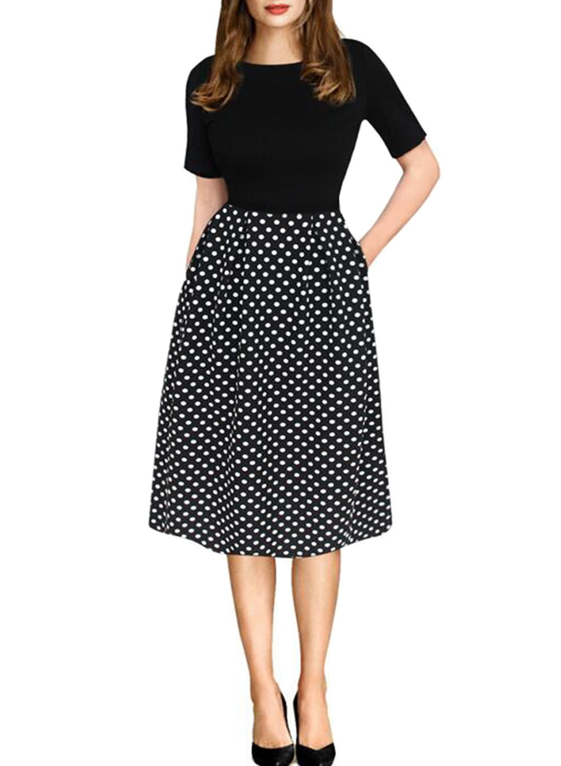 oxiuly Women's Vintage Black Dot Patchwork Pocket Puffy Swing Casual Dress OX165 (L, Black) by oxiuly
