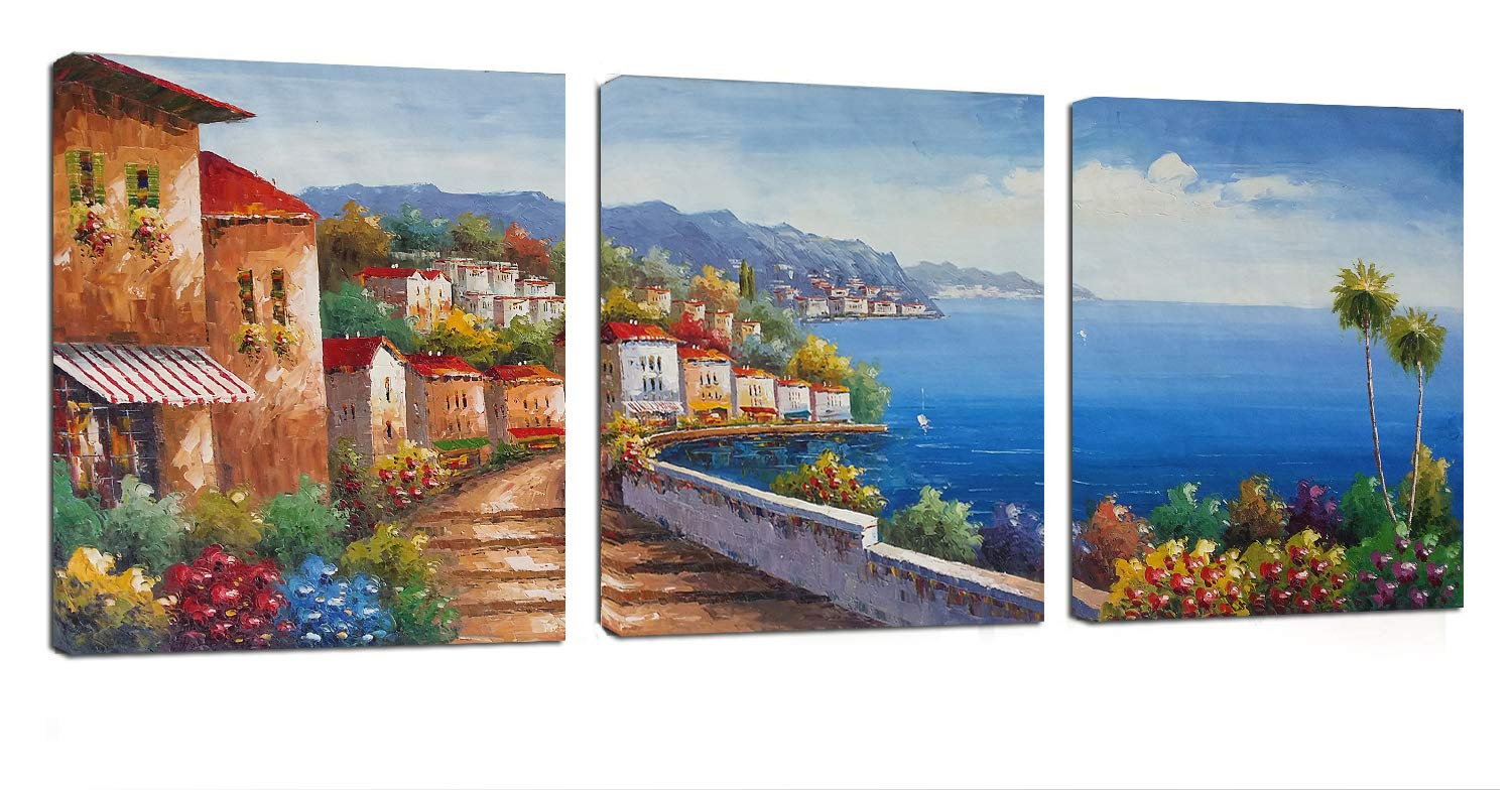 Living Room Canvas Wall Art Mediterranean Sea Artwork - 12