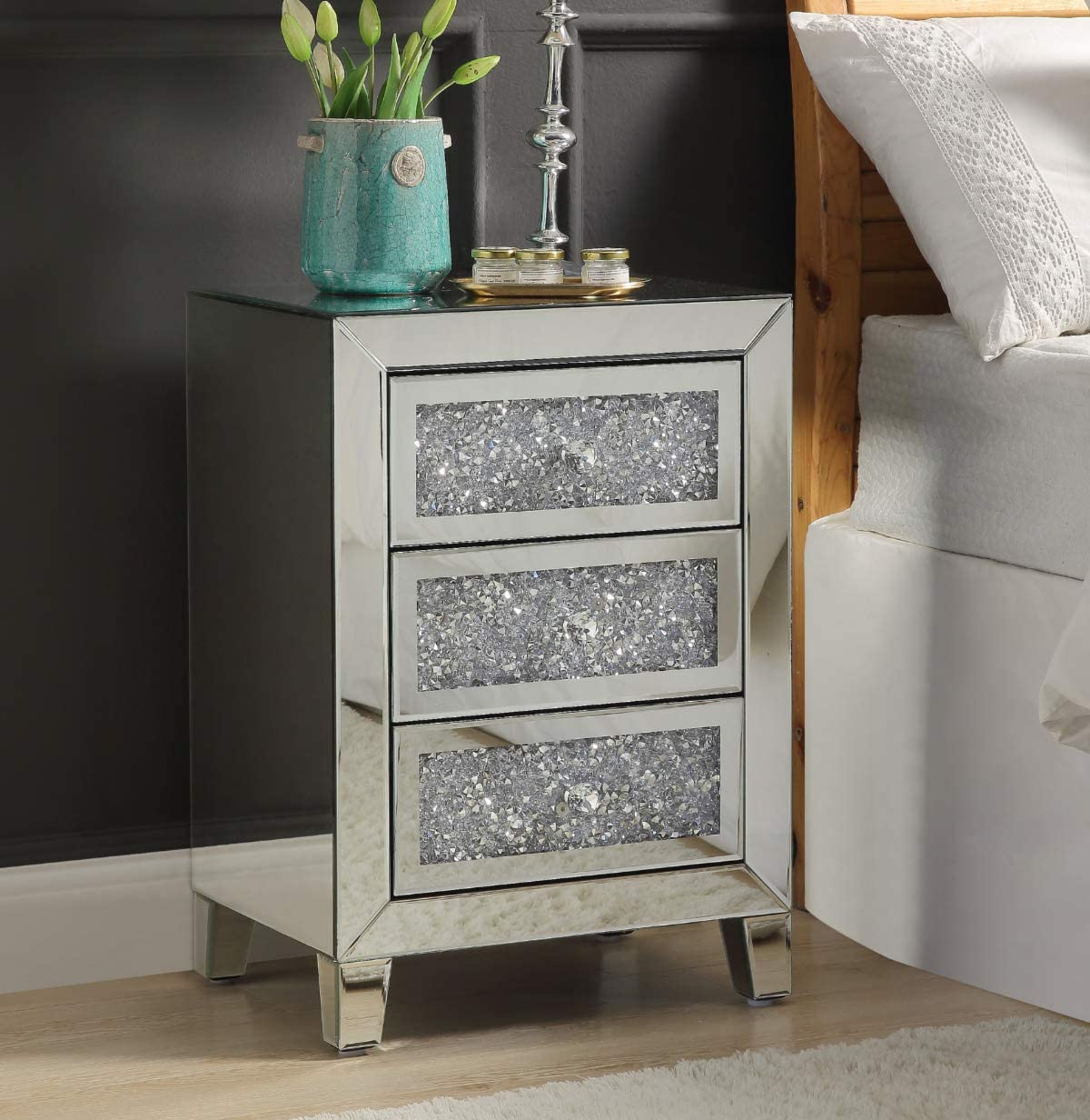 Mirrored Nightstand with Crystal Diamond Inlay, Silver Mini Cabinet with Three Drawers, End Table for Bedroom Living Room from Mireo Furniture