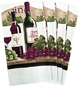 JJ Collection 4 Pack Absorbent Kitchen Dish Towels 15x25 Cotton Poly (Wine Bottle)