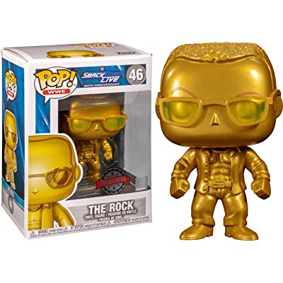 Funko POP! WWE: Smackdown Live 20th Anniversary - The Rock (Gold Metallic) (NYCC Debut): Toys & Games