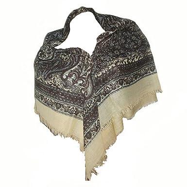 c38a7dc1ba59 Foulard carré Etole écharpe chale femme 100% laine écru noir ...