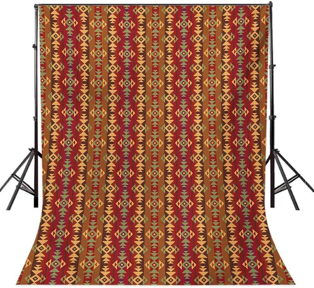 Native American 10x15 FT Photo Backdrops,Geometric Striped Seamless Cultural Local Pattern Vintage Print Background for Baby Shower Birthday Wedding Bridal Shower Party Decoration Photo Studio