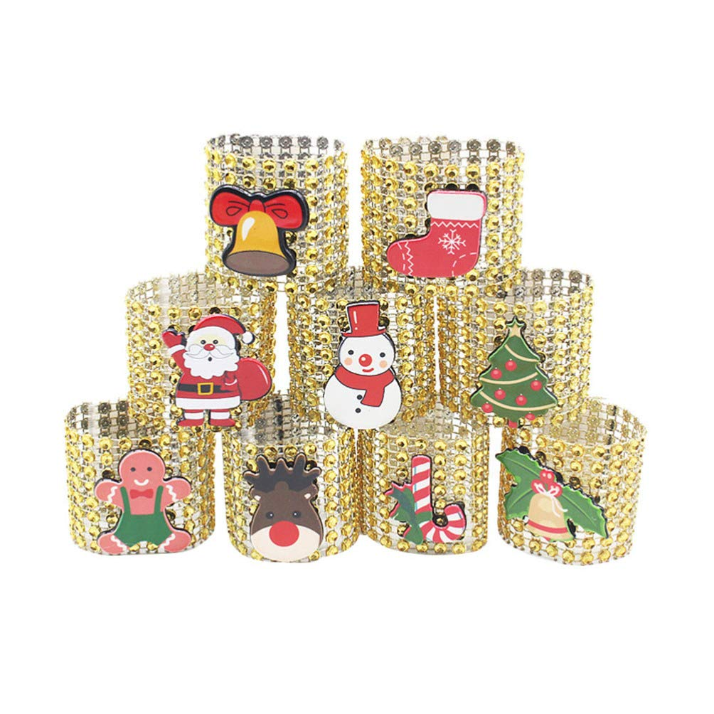 Amosfun 9 piezas anillos de servilleta de navidad servilleteros de malla de diamantes de imitaci/ón de cristal decoraciones de mesa de cena de navidad suministros de fiesta plata