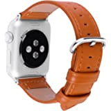 5 Colors for Apple Watch Bands, Fullmosa Yona Calf Leather Replacement Band/Strap with Stainless Steel Clasp for Apple iWatch Series 1 2 3 Sport and Edition Versions 2015 2016 2017, Light Brown,42mm