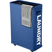 IHOMAGIC Slim Rolling Laundry Basket with Wheel, Thin Laundry Basket Dirty Clothes Sorter Organizer Collapsible Storage Hamper Laundry Bin for Bedroom, Laundry Room, 15.3X 7.3X 22.8IN, 41L, Navy Blue