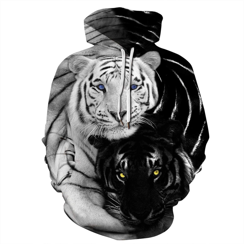 Mens Hooded 3D Digital Print Tigers Pattern Pullover Couples Sports Sweatshirt Hoodies