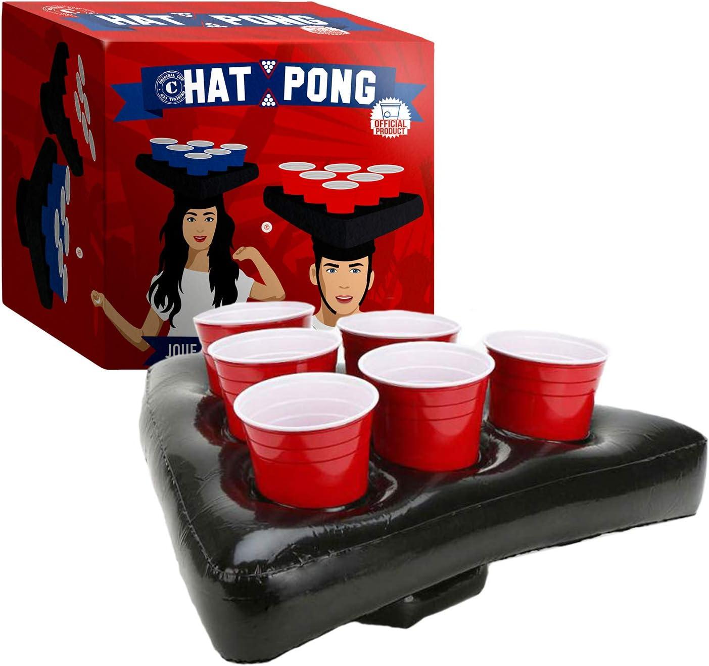 Original Cup - Hat Pong Juego de Pong de Cerveza Original - 2 Boyas de Sombrero - 12 Copas Americanas Rojo/Azul - 2 Bolas de Ping Pong - Juego de Noche - Juego de Beber
