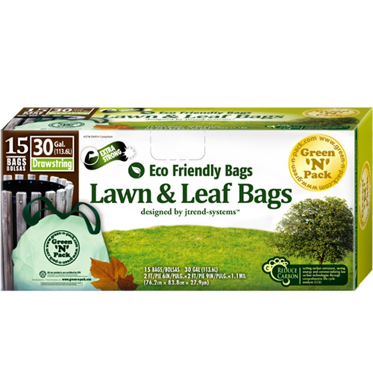 Amazon.com: Green N Pack Eco Friendly 30 Gallon Drawstring ...