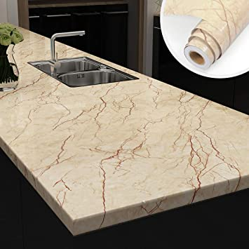 Yenhome Large Size Removable Decorative Marble Contact Paper For Countertops Peel And Stick Wallpaper For Kitchen Cabinets Bathroom Wall Decor Wallpaper Stick And Peel 24 X 118 Roll Amazon Com