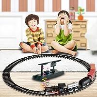 Luce effetti sonori elettrico RC Train Toy, Mamum trasmissione auto RC set treno elettrico modello giocattolo con luce e musica regalo per bambini