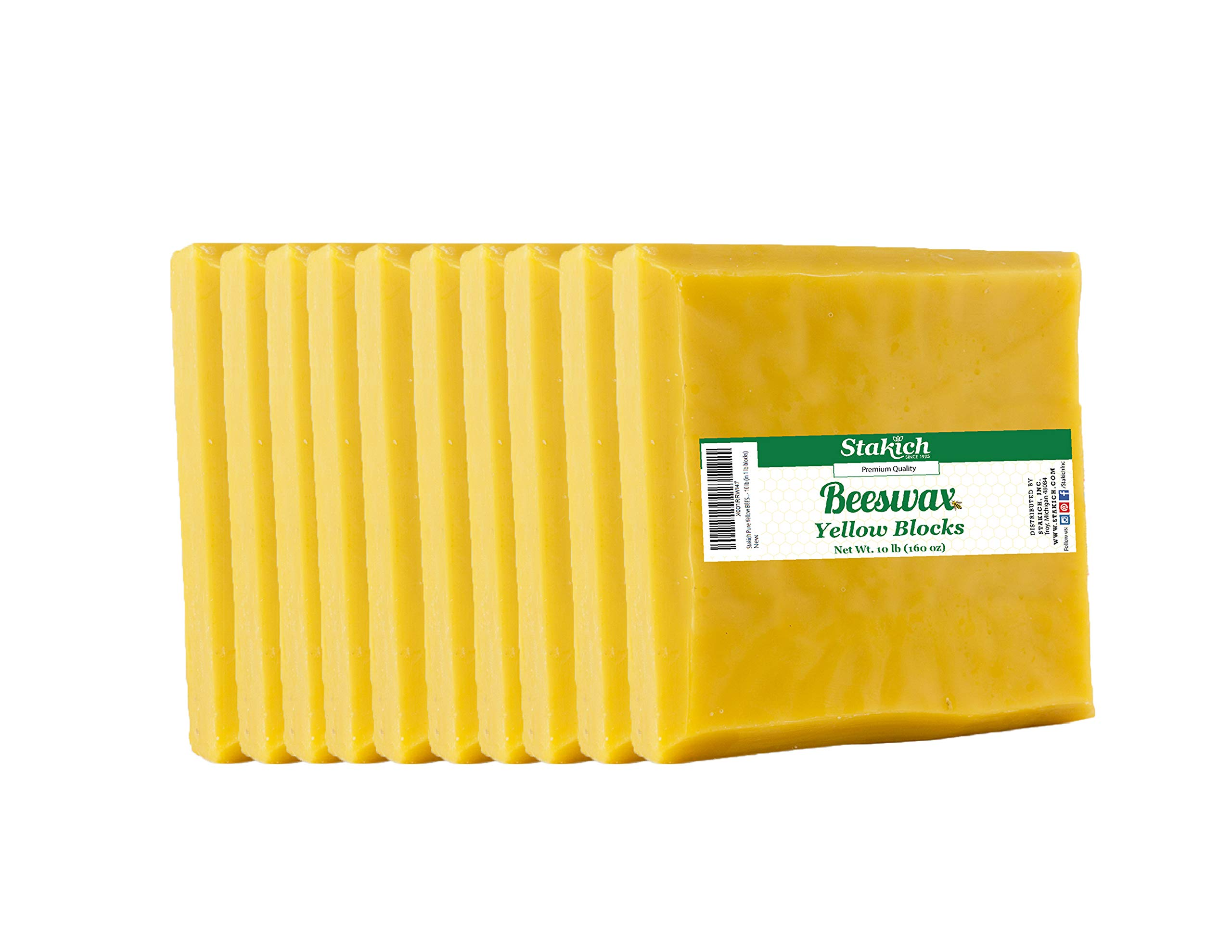 Stakich Yellow Beeswax Blocks - Natural, Triple Filtered - 10 Pounds (in 1 Pound Blocks)
